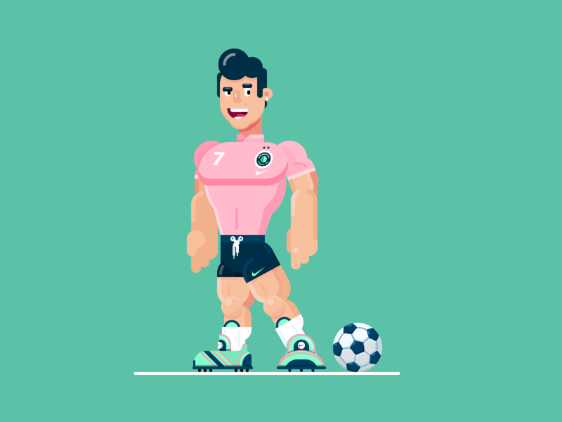 Soccer player ⚽️ sportwear cartoon flat vector illustration character anatomy shadow light flat  design gigantic athletic cr7 ball balloon sport football soccer swoosh nike