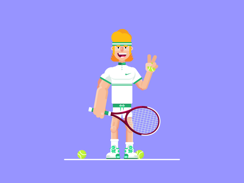 Old-fashioned tennis player 🎾 swoosh anatomy cartoon vector illustration old-school old-fashioned sneakers nike character design character court flat racket ball game sport player tennisman tennis