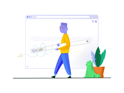 Googling with goggles ui design graphic  design search bar tool ux design ui procreate illustration uxdesign goggles paper plane browser plant walking search cat urkel elgoog google
