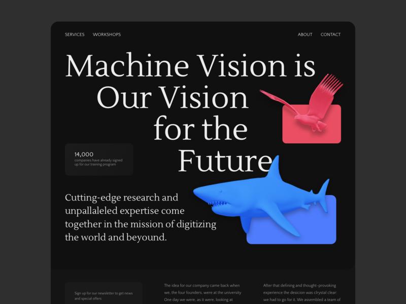 Machine Vision Website 3d web ui machine learning 3d art science landing artificial intelligence computer vision