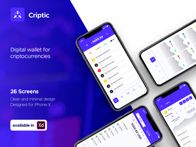Criptic - Digital Wallet for Criptocurrencies ui app ux design