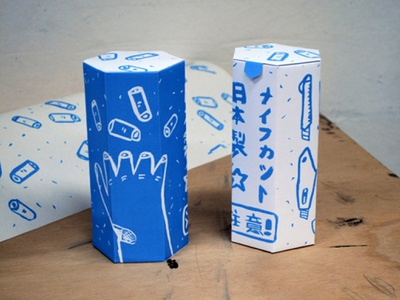 Japanese cutting knives packaging illustration graphic design packaging