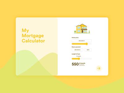 Mortgage Calculator 🏠 ui 004 mortgage house yellow design calculator ui calculate illustraion