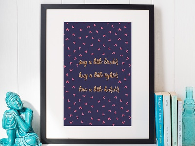 Just a little more pattern love hug sing redbubble society6 artprint typography gold