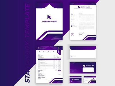 Modern corporate business branding identity stationary design invoice