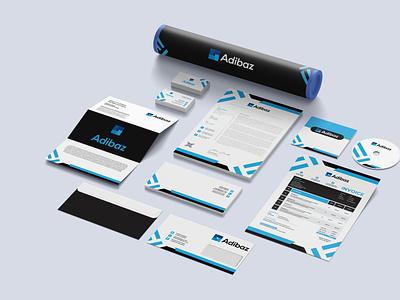 Logo and Branding Stationery Design for E-Commerce company Adiba envelope design cd cover design letterhead businesscard professional invoice design creative branding minimalist logo design minimal modern logo graphic design