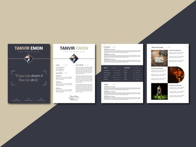 Professional 4 Page Resume CV Template Design