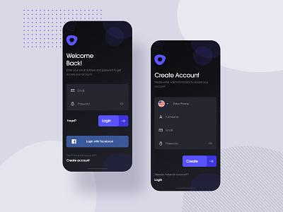 Login and Create Account Screen userinterface ui ux branding mobile app mobile ui mobile login design ui welcome dribbble uxdesign ui design