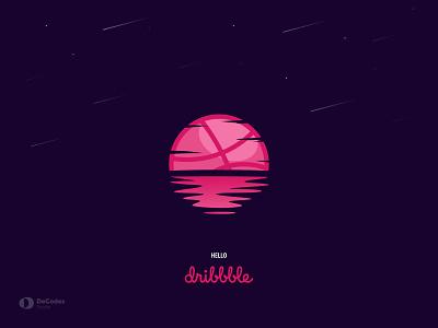 Hello, Dribbble sunset art illustrations uiux welcome dribbble welcome page design illustration