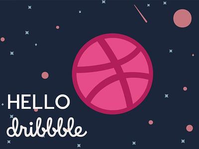 Hello dribbble design planets planet vector hello dribble hello world firstshot web illustraion