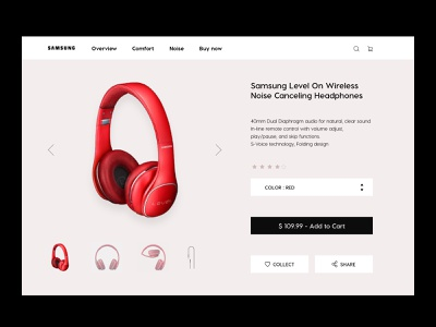 Product page red level design headphones headphone samsung page product