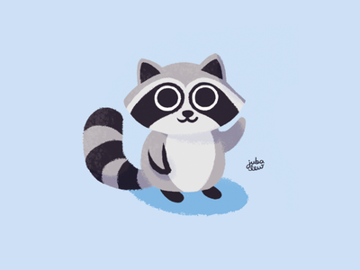 See you soon Raccoon blue raccoon animal drawing digital art illustration