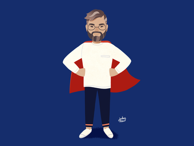 Super dad blue character digital painting digital art adobe photoshop illustration super dad superhero father fathers day