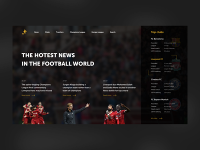Concept of football news blog