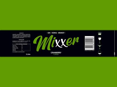 Mixxer Label Design branding vector design product label cranberry vodka mixer beverage