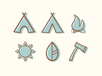 Great Outdoors Icon Set With Color