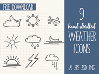 Hand-Doodled Weather Icons