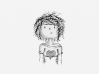 Curly Haired Girl Illustration