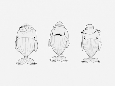 Whales in Fancy Hats Illustration