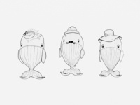 Whales in Fancy Hats Illustration
