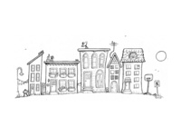 Whimsical Town Ink Illustration