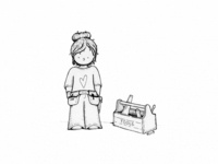 Builder Girl Ink Illustration