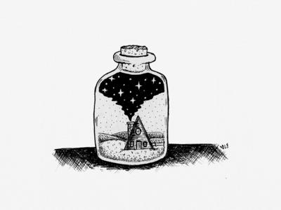 Galaxy Cabin in a Jar Illustration