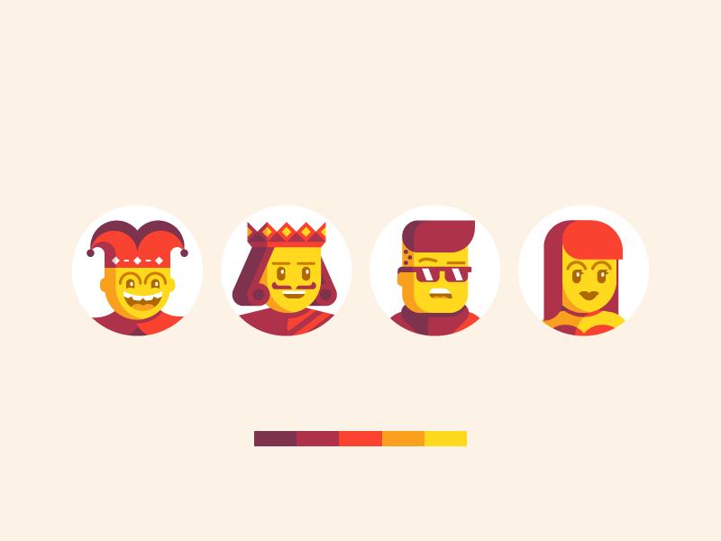 Avatars system characters geometric people king joker cards boy girl avatar avatars