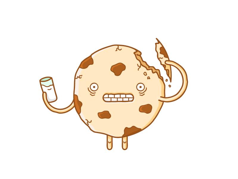 Self-cookiebalism food character face stroke chips crunch halloween creepy horror milk illustration cookie