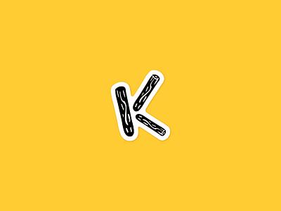 K sticker! logo handmade tree logs illustration playoff hand brush letter k sticker