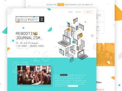 Media Party 2016 argentina hack media party stroke illustration web landing ui event