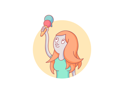 Ice cream power illustration hand hair people person character girl food ice cream