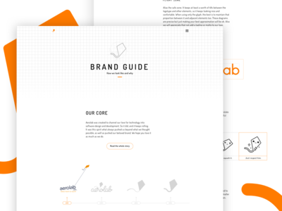 Aerolab - Brand Guide story timeline landing page ui logo kite brand guide guidelines