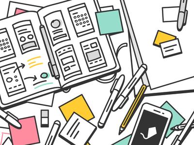 A good mess paper markers post it wireframes sketch phone outline stroke illustration ui ux desk