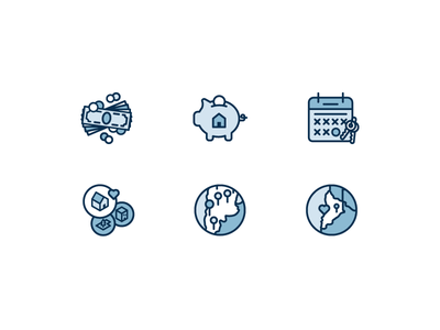 Features Icons features illustrations icons saving house pig calendar map city dollars bills money