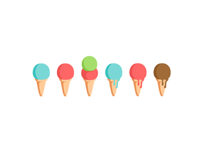 Cucuruchos. colorful handmade pattern melted melt food cones ice cream illustration