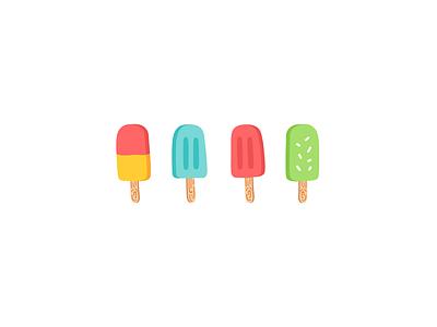 Popsicles wood colorful handmade pattern melt food popsicle ice cream illustration