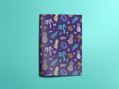 🍍 icons summer tropical pineapple colorfull composition coconut palms illustration pattern
