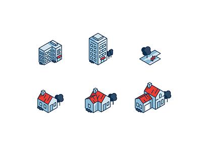 Natania: houses & buildings. stroke icon iconography illustration three isometric building house