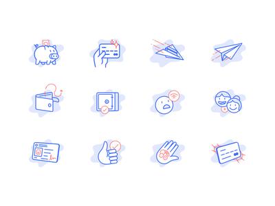Illustrations → Ualá emoji hands plane pig people credit card message empty states app ui icons illustration
