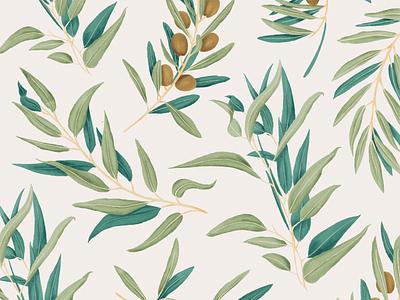 Olive ipad pro procreate watercolor botanica botanical plant plants pattern illustration