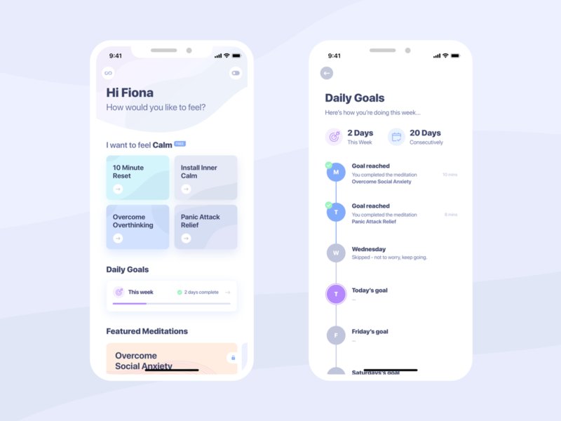 Mind Detox Mobile App UI mobile gradient flat ux interface white minimal guided meditations app meditation mindfulness clean ui