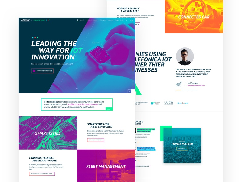 Telefonica IoT Web Concepts brand identity branding brand ux design marketing innovation web design website white clean ui iot