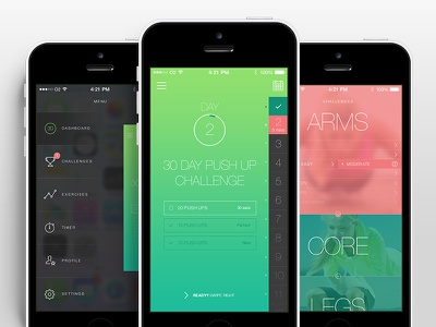 Fitness App UI ui app ios gradient flat fitness sports exercise workout lifestyle swipe
