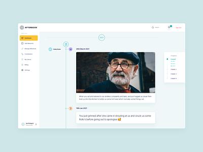 Afterbook SaaS Platform clean timeline afterbook design ux ui platform web design website software saas web ui