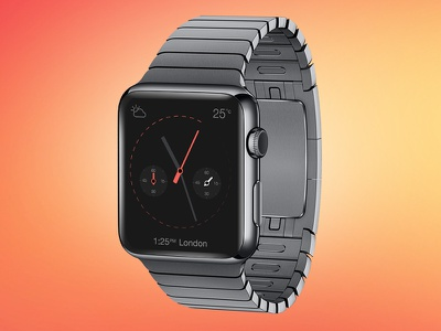 iWatch Time Piece inc. PSD Mockup free psd iwatch iwatch ui iwatch clock face smart watch sunburnt orange rouge