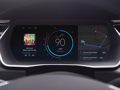 Tesla Instrument Dashboard tesla model s tesla cluster speedo car ux car ui in-car dashboard instrument ui