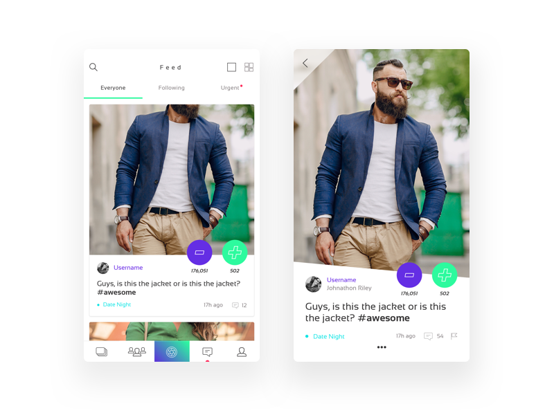 Social Voting Fashion App green purple white clean gradient ui app clothing community fashion social