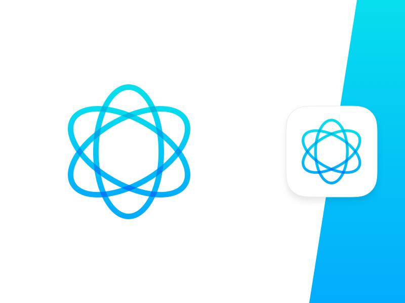 Atom App Icon physics energy atom gradient iconography icon clean app icon