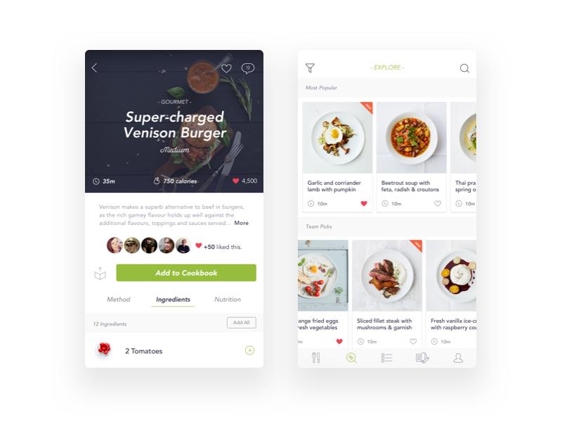 Voila Recipe App social ingredients food interface green white clean ui mobile app recipe